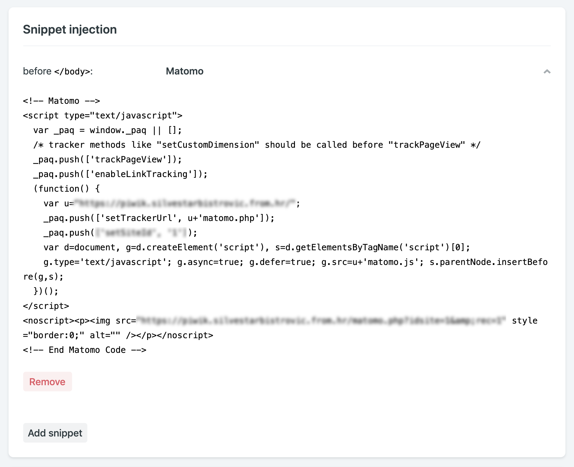 Netlify snippet injection