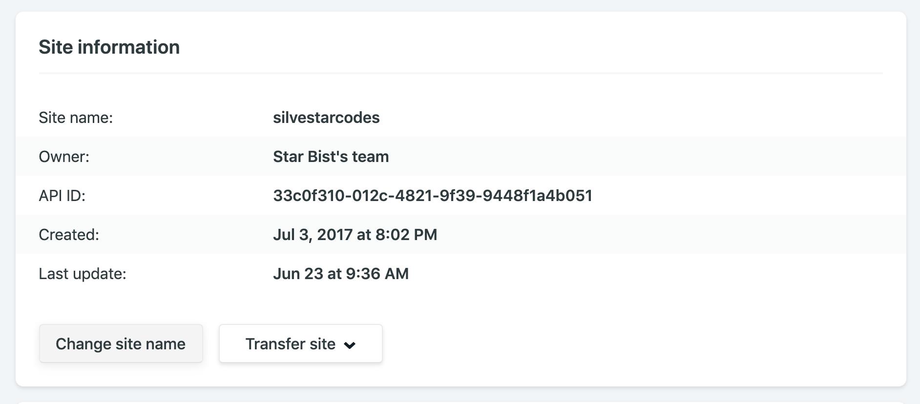 Netlify dashboard settings for custom site name