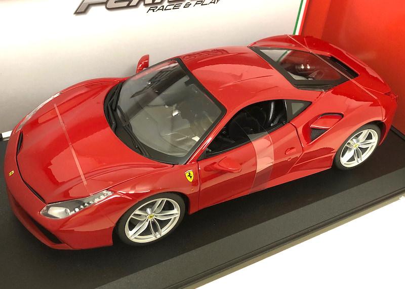ブラーゴ 1/18スケールミニカー「フェラーリ488GTB」(レッド)Race & Playシリーズ