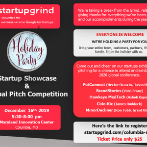 Celebrate the Holidays with our Party, Startup Showcase, and Global Pitch Competition