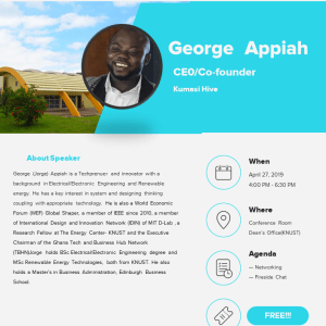Hosting George Appiah (ceo/co-founder Kumasi Hive)
