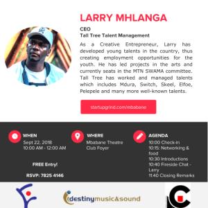 """Your Talent is Your Business Idea"", Creative Entrepreneur Larry Mhlanga."