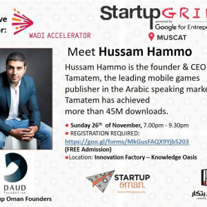 Tamatem Games Founder, Hussam Hammo in Startup Grind Muscat - November 26th