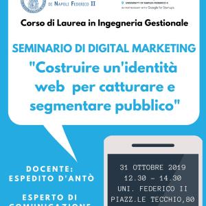 """A lezione di Digital Marketing con Espedito D'Antò: """"Come costruire un'identità web"""""""