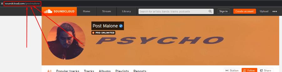 soundcloud profile URL