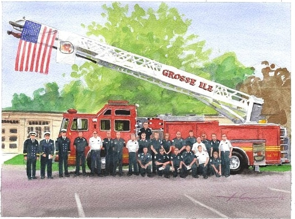 Watercolor vehicle portrait from a photo of a fire crew and their firetruck by portrait artist Mike Theuer.