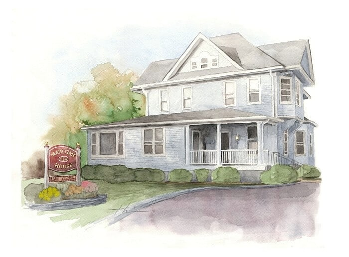 Watercolor house portrait from a photo of a Bed and Breakfast home by portrait artist Mike Theuer.