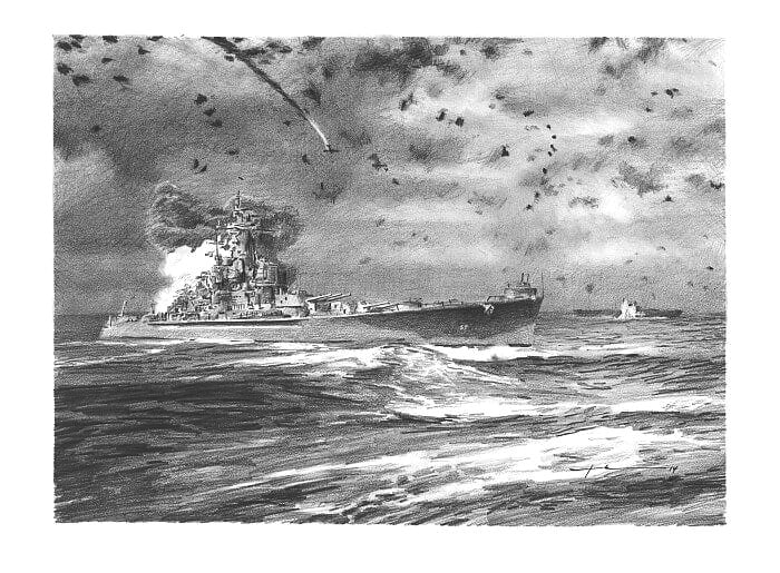 Pencil ship portrait from separate photos of the imagined battle of WWII Santa Cruz by portrait artist Mike Theuer.