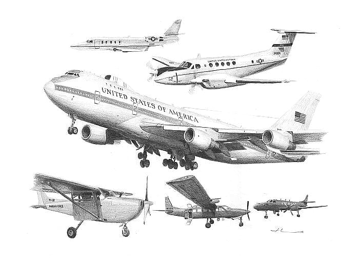 Pencil airplane portrait from separate photos of airplanes by portrait artist Mike Theuer.