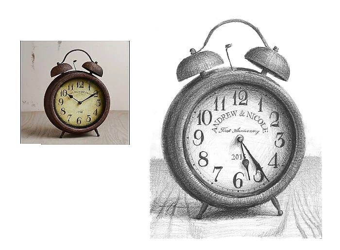 Pencil clock portrait from a photo of a clock showing anniversary time by portrait artist Mike Theuer. Photo reference included.