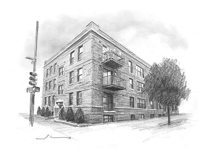 Pencil house portrait from a photo of an apartment building by portrait artist Mike Theuer.