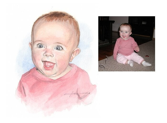 Watercolor portrait from a photo of baby girl in pink by portrait artist Mike Theuer. Photo reference included.