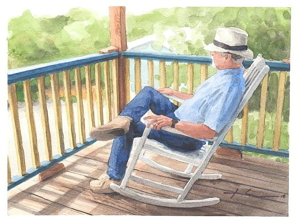 Watercolor house portrait from a photo of a back porch and a man in a rocker by portrait artist Mike Theuer.