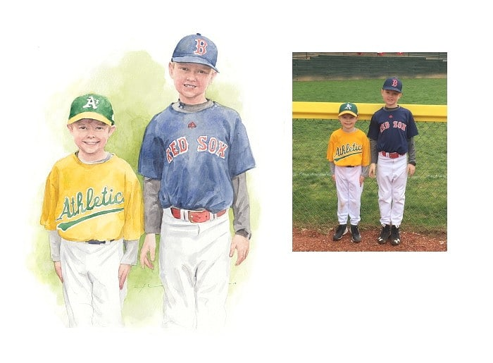Watercolor family portrait from a photo of brothers in little league baseball by portrait artist Mike Theuer. Photo reference included.