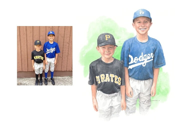 Watercolor portrait from a photo of little league brothers by portrait artist Mike Theuer. Photo reference included.