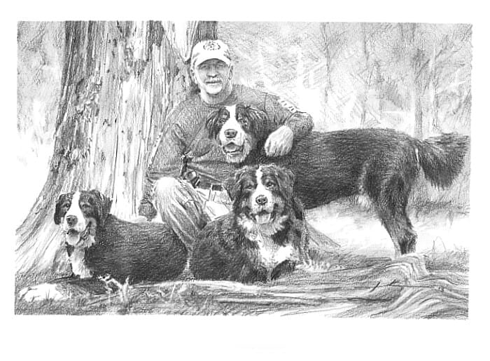 Pencil pet portrait from a photo of an owner and his bernese mountain dogs by portrait artist Mike Theuer.