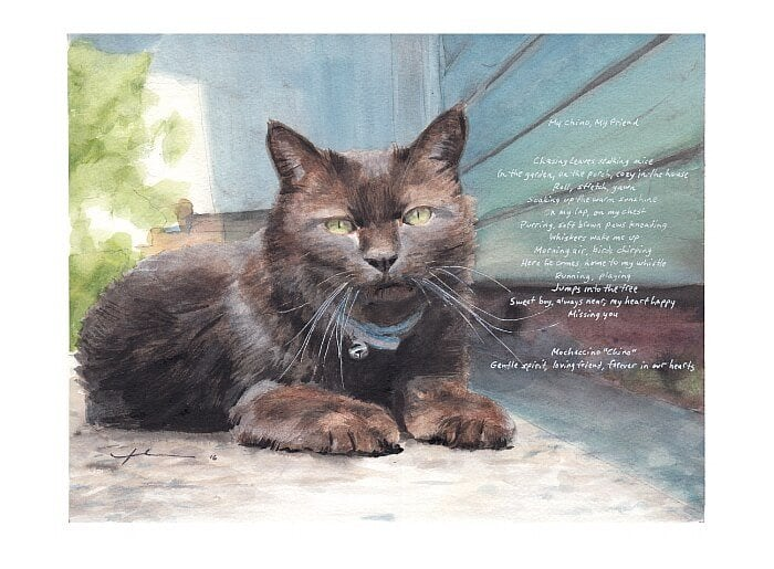 Watercolor pet portrait from a photo of a dark cat with a poem by portrait artist Mike Theuer.