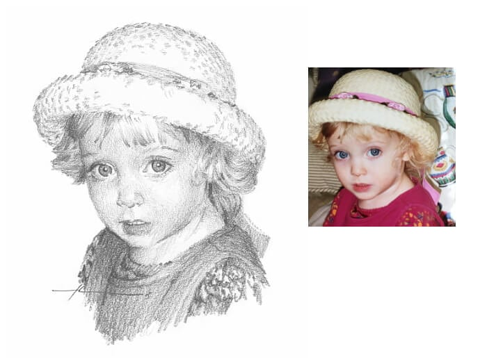 Pencil portrait from a photo of a little girl in a straw hat by portrait artist Mike Theuer. Photo reference included.