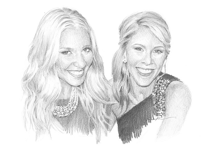 Pencil family portrait from a photo of blonde sisters by portrait artist Mike Theuer.