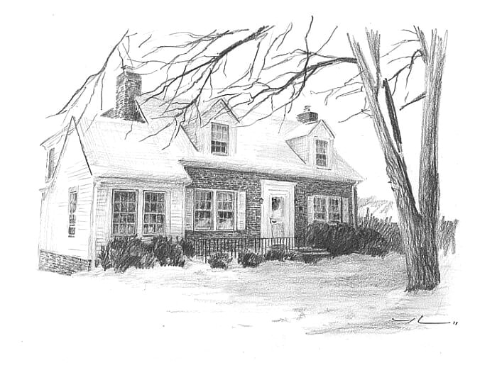 Pencil house portrait from a photo of a brick house by portrait artist Mike Theuer.