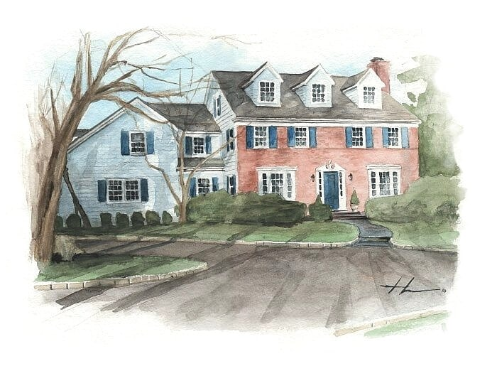 Watercolor house portrait from a photo of a brick house by portrait artist Mike Theuer.
