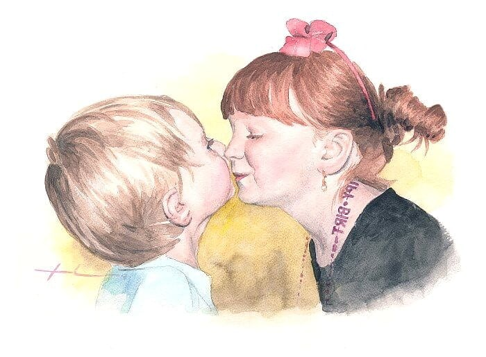 Watercolor portrait from a photo of a sister giving her baby brother a little kiss by portrait artist Mike Theuer.