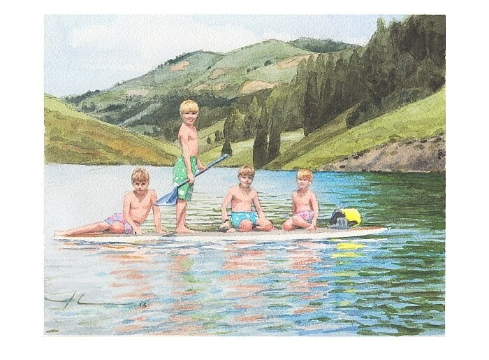 Watercolor family portrait from a photo of four brothers on one paddle surf board by portrait artist Mike Theuer.