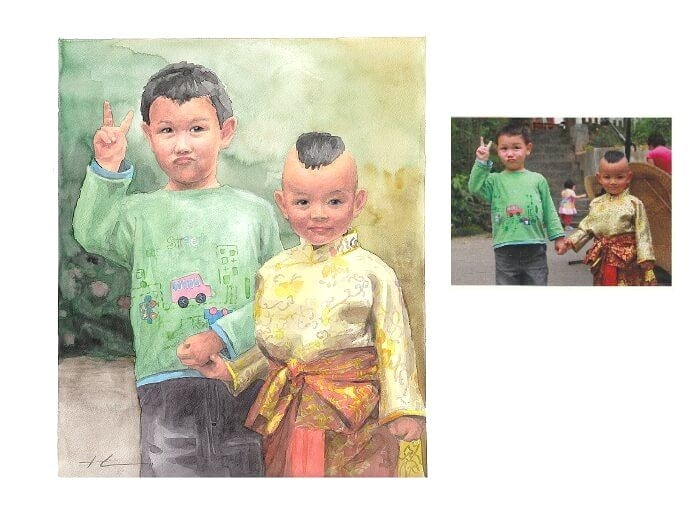 Watercolor family portrait from a photo of cousins from different cultures holding hands by portrait artist Mike Theuer. Photo reference included.