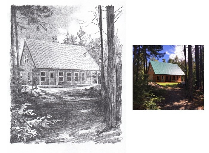 Pencil house portrait from a photo of a cabin in the woods by portrait artist Mike Theuer.