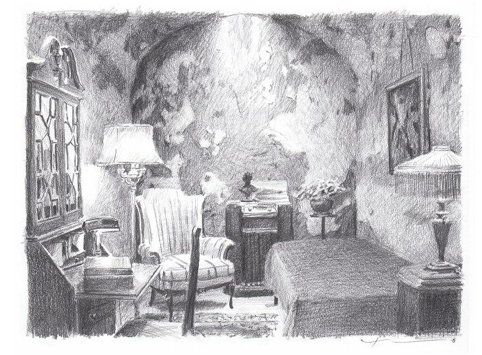 Pencil room portrait of Al Capone's jail cell by portrait artist Mike Theuer.