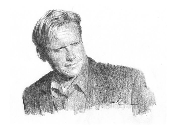 Pencil portrait from a photo of a CEO by portrait artist Mike Theuer.