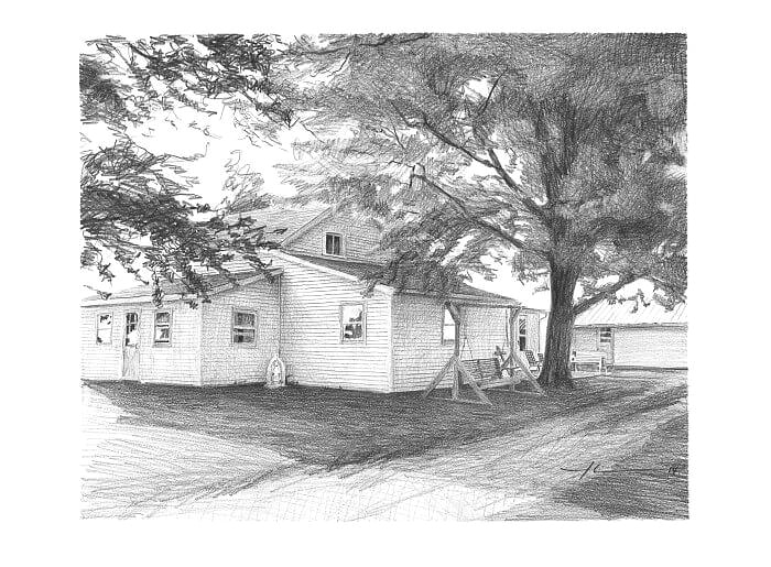 Pencil house portrait from a photo of a childhood home in the country by portrait artist Mike Theuer.
