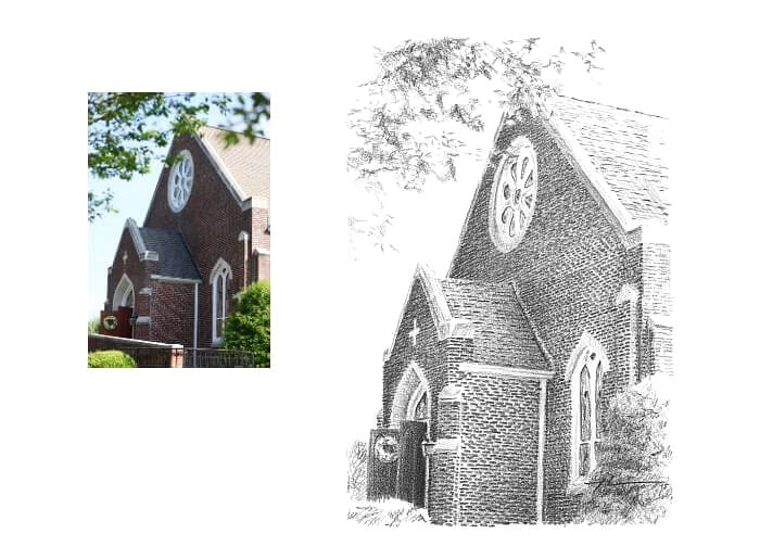 Pencil church portrait from a photo of a church facade by portrait artist Mike Theuer. Photo reference included.
