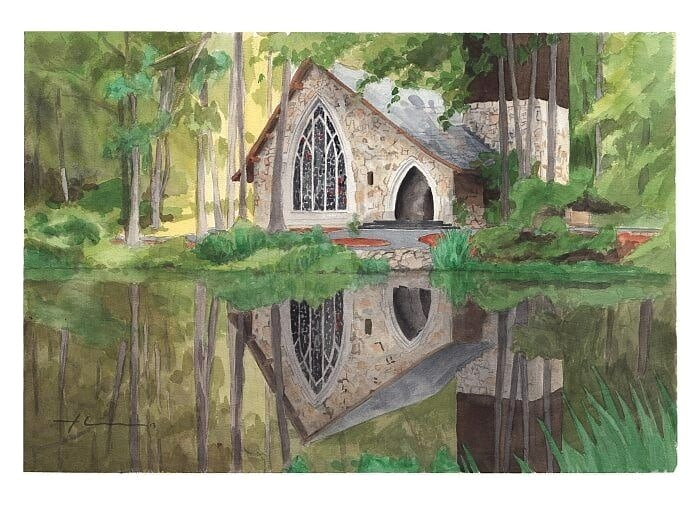 Watercolor church portrait from a photo of church in the woods by portrait artist Mike Theuer.