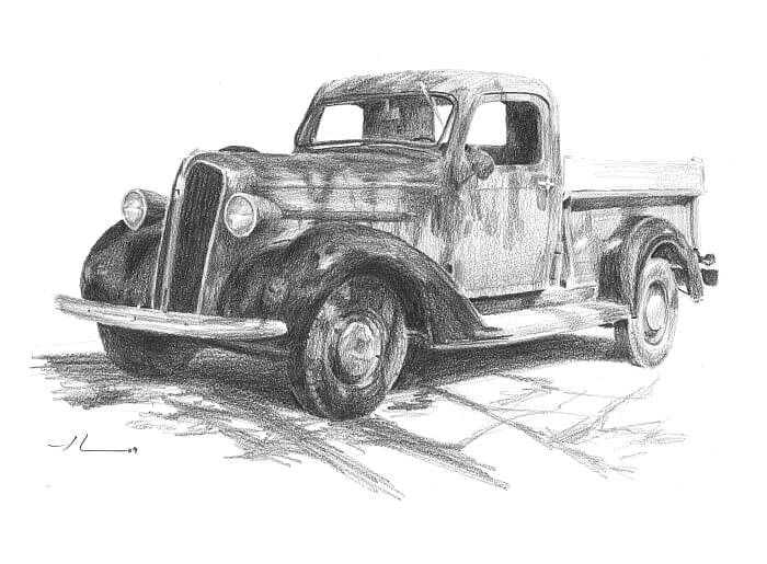 Pencil truck portrait from a photo of a classic truck by portrait artist Mike Theuer.