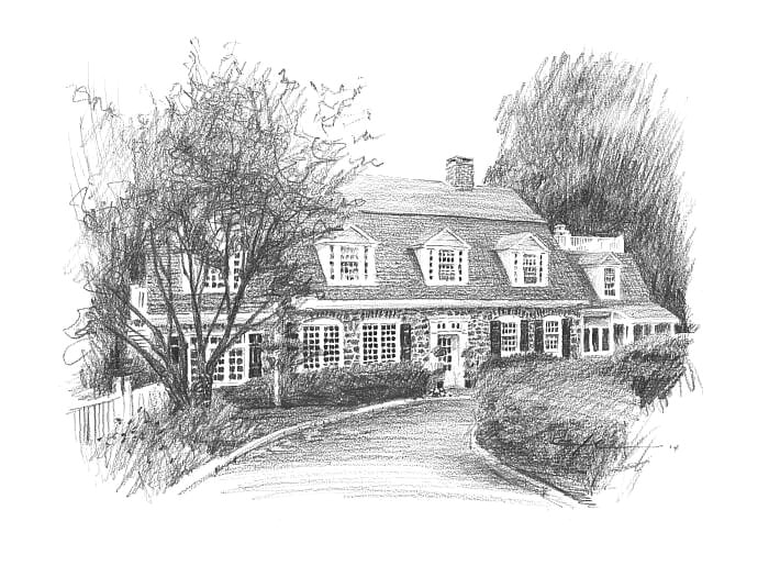 Pencil house portrait from a photo of a cottage by portrait artist Mike Theuer.