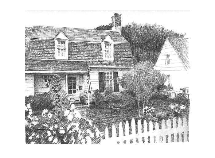 Pencil house portrait from a photo of cottage nsetled in trees by portrait artist Mike Theuer.