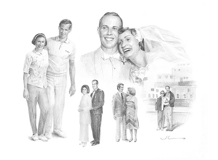 Pencil portrait from separate photos of a couple through history by portrait artist Mike Theuer.