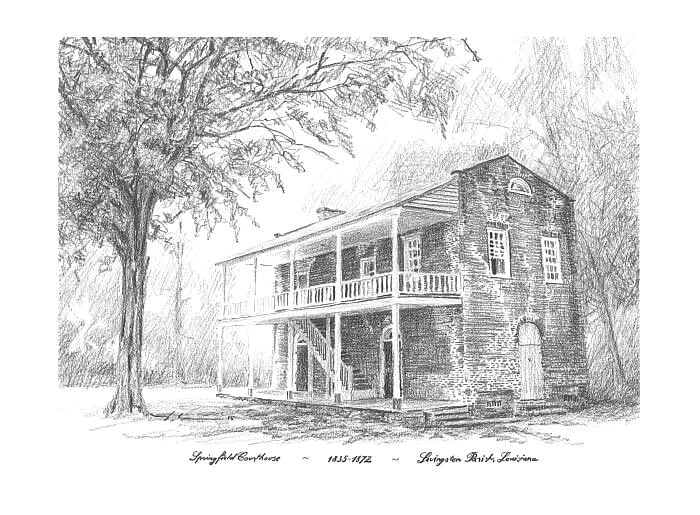 Pencil house portrait from a photo of an old Lousiana courthouse by portrait artist Mike Theuer.