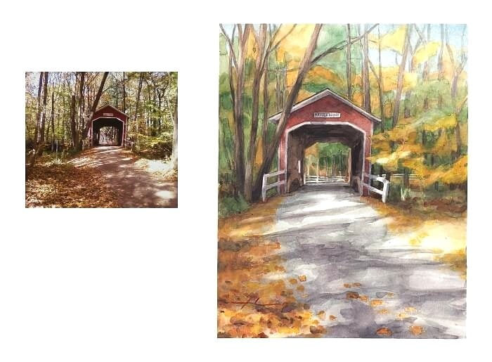 Watercolor bridge portrait from a photo of a covered bridge in the woods by portrait artist Mike Theuer. Photo reference included.
