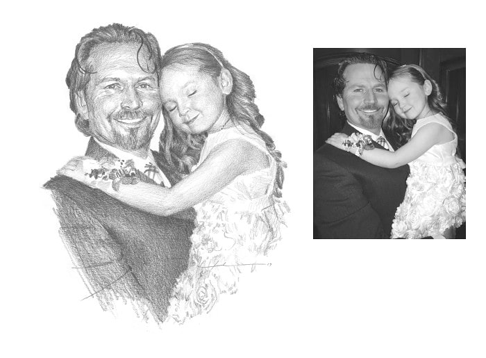 Pencil family portrait from a photo of a daughter hugging her dad by portrait artist Mike Theuer. Photo reference included.