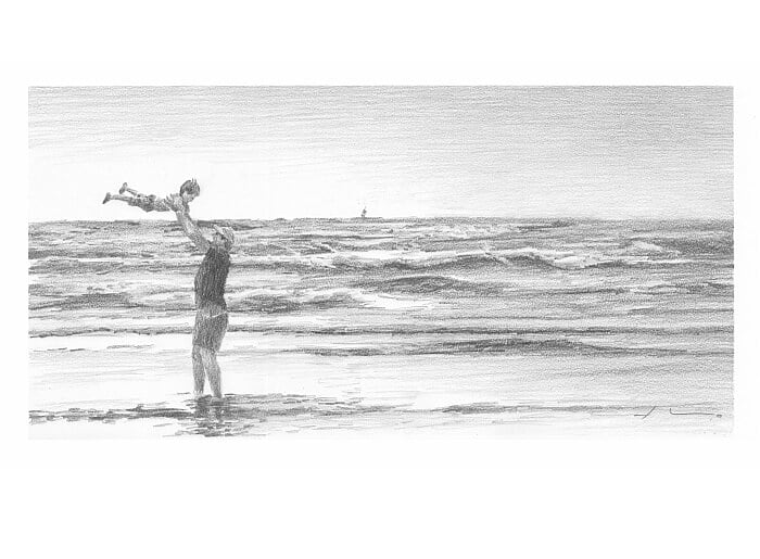 Pencil portrait from a photo of a dad and son near the ocean by portrait artist Mike Theuer.