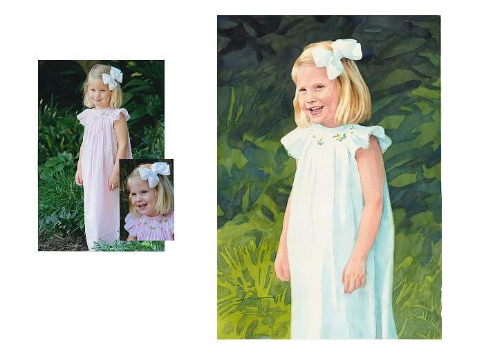Watercolor portrait from separate photos of an Easter girl by portrait artist Mike Theuer. Photo references included.