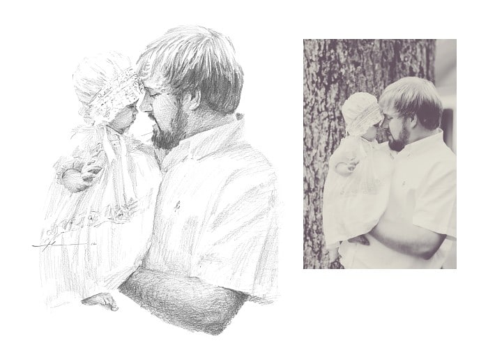 Pencil family portrait from a photo of dad holding his infant daughter by portrait artist Mike Theuer. Photo reference included.