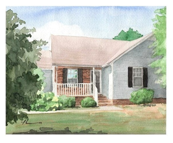 Watercolor house portrait from a photo of a first-time home by portrait artist Mike Theuer.