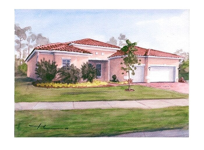 Watercolor house portrait from a photo of a Florida home by portrait artist Mike Theuer.