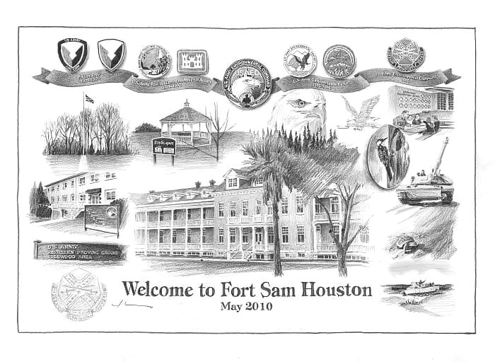 Pencil house portrait from separate photos of Fort Sam Houston by portrait artist Mike Theuer.