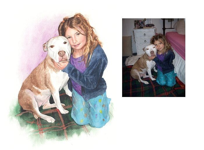 Watercolor portrait from a photo of a girl hugging her dog by portrait artist Mike Theuer. Photo reference included.