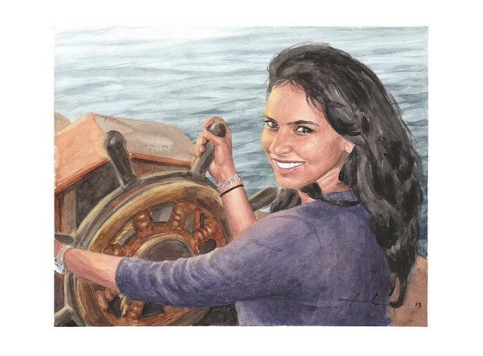 Watercolor portrait from a photo of a grilfriend sailing by portrait artist Mike Theuer.