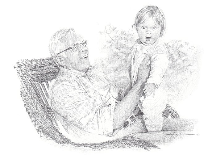 Pencil family portrait from a photo of a grandfather and granddaughter by portrait artist Mike Theuer.